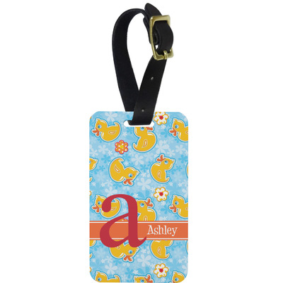 Rubber Duckies & Flowers Metal Luggage Tag w/ Name and Initial