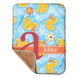 "Rubber Duckies & Flowers Sherpa Baby Blanket 30"" x 40"" (Personalized)"