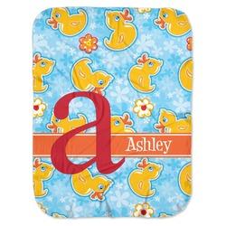 Rubber Duckies & Flowers Baby Swaddling Blanket (Personalized)