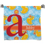 Rubber Duckies & Flowers Full Print Bath Towel (Personalized)