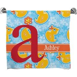 Rubber Duckies & Flowers Full Print Bath Towel (Personalized)