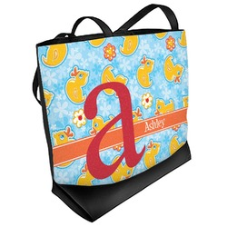 Rubber Duckies & Flowers Beach Tote Bag (Personalized)
