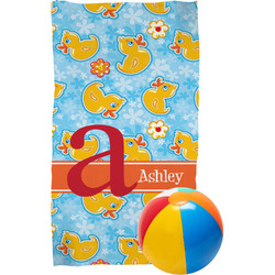Rubber Duckies & Flowers Beach Towel (Personalized)