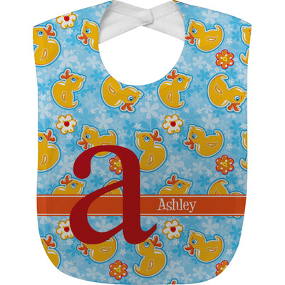 Rubber Duckies & Flowers Baby Bib (Personalized)