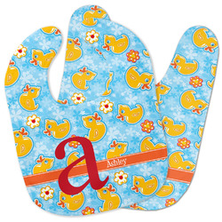 Rubber Duckies & Flowers Baby Bib w/ Name and Initial