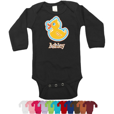 Rubber Duckies & Flowers Long Sleeves Bodysuit - 12 Colors (Personalized)