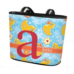 Rubber Duckies & Flowers Bucket Tote w/ Genuine Leather Trim (Personalized)