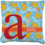 Rubber Duckies & Flowers Faux-Linen Throw Pillow (Personalized)