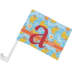 Rubber Duckies & Flowers Car Flag (Personalized)