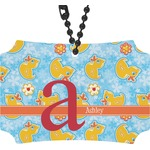 Rubber Duckies & Flowers Rear View Mirror Ornament (Personalized)