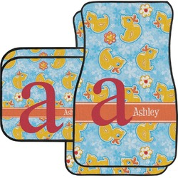 Rubber Duckies & Flowers Car Floor Mats Set - 2 Front & 2 Back (Personalized)