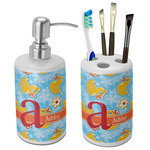 Rubber Duckies & Flowers Bathroom Accessories Set (Ceramic) (Personalized)