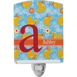 Rubber Duckies & Flowers Ceramic Night Light (Personalized)