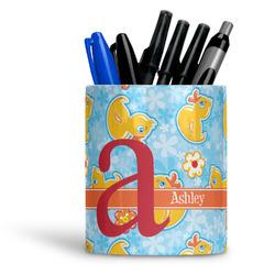Rubber Duckies & Flowers Ceramic Pen Holder