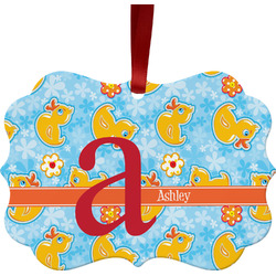 Rubber Duckies & Flowers Ornament (Personalized)