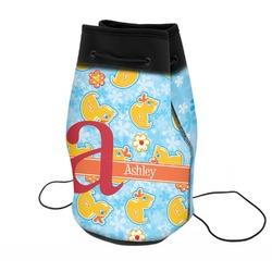 Rubber Duckies & Flowers Neoprene Drawstring Backpack (Personalized)
