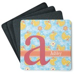 Rubber Duckies & Flowers 4 Square Coasters - Rubber Backed (Personalized)
