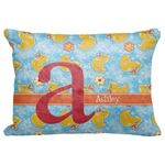 "Rubber Duckies & Flowers Decorative Baby Pillowcase - 16""x12"" (Personalized)"