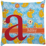 Rubber Duckies & Flowers Decorative Pillow Case (Personalized)