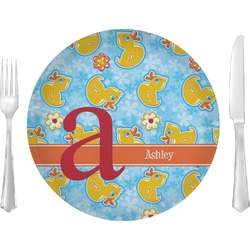 """Rubber Duckies & Flowers 10"""" Glass Lunch / Dinner Plates - Single or Set (Personalized)"""