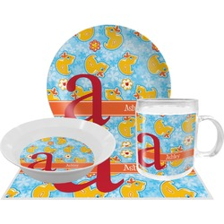 Rubber Duckies & Flowers Dinner Set - 4 Pc (Personalized)