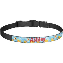 Rubber Duckies & Flowers Dog Collar - Large (Personalized)