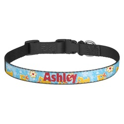 Rubber Duckies & Flowers Dog Collar - Medium (Personalized)