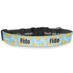 Rubber Duckies & Flowers Deluxe Dog Collar (Personalized)