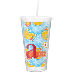 Rubber Duckies & Flowers Double Wall Tumbler with Straw (Personalized)