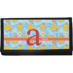 Rubber Duckies & Flowers Canvas Checkbook Cover (Personalized)