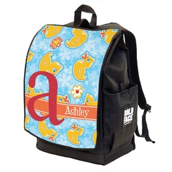 Rubber Duckies & Flowers Backpack w/ Front Flap  (Personalized)