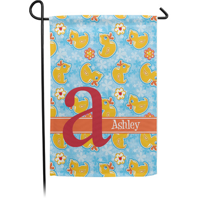 Rubber Duckies & Flowers Garden Flag - Single or Double Sided (Personalized)
