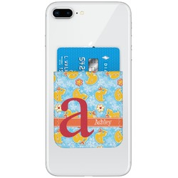 Rubber Duckies & Flowers Genuine Leather Adhesive Phone Wallet (Personalized)