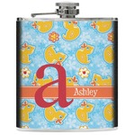 Rubber Duckies & Flowers Genuine Leather Flask (Personalized)