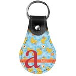 Rubber Duckies & Flowers Genuine Leather  Keychain (Personalized)