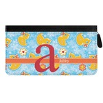Rubber Duckies & Flowers Genuine Leather Ladies Zippered Wallet (Personalized)