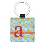 Rubber Duckies & Flowers Genuine Leather Rectangular Keychain (Personalized)
