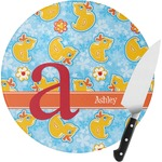 Rubber Duckies & Flowers Round Glass Cutting Board (Personalized)
