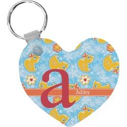 Rubber Duckies & Flowers Heart Keychain (Personalized)