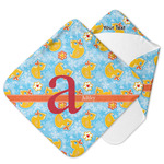 Rubber Duckies & Flowers Hooded Baby Towel (Personalized)