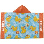 Rubber Duckies & Flowers Kids Hooded Towel (Personalized)