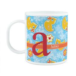 Rubber Duckies & Flowers Plastic Kids Mug (Personalized)