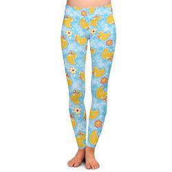 Rubber Duckies & Flowers Ladies Leggings (Personalized)