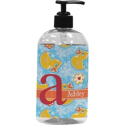 Rubber Duckies & Flowers Plastic Soap / Lotion Dispenser (Personalized)