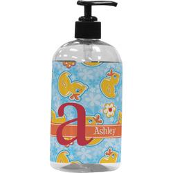Rubber Duckies & Flowers Plastic Soap / Lotion Dispenser (16 oz - Large) (Personalized)