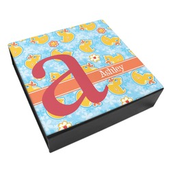 Rubber Duckies & Flowers Leatherette Keepsake Box - 8x8 (Personalized)