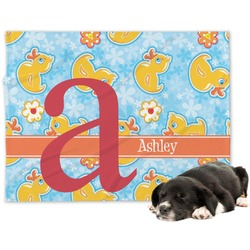 Rubber Duckies & Flowers Minky Dog Blanket (Personalized)