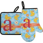 Rubber Duckies & Flowers Oven Mitt & Pot Holder (Personalized)