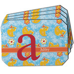 Rubber Duckies & Flowers Dining Table Mat - Octagon w/ Name and Initial