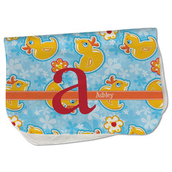 Rubber Duckies & Flowers Burp Cloth - Fleece w/ Name and Initial
